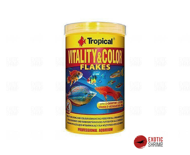 Tropical vitality color flakes exotic shrimp for Alimento para peces